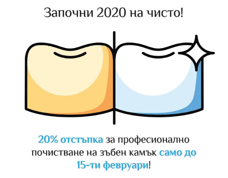 Получи 20% отстъпка за професионално почистване на зъбен камък в една от двете локации на клиники Smile Factory.